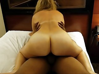 Slutwife riding her BBC bareback and screaming