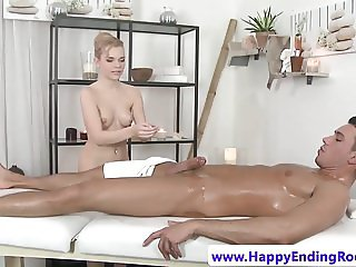 European masseuse jerking before doggystyle