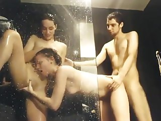 Extremely Lucky Dude Fucks 2 Hot Bitches in the Shower