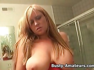 Busty amateur Violet masturbates her pussy
