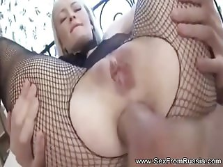Fishnet Anal Blonde Russian Teen Loves Extreme Anal Fucking