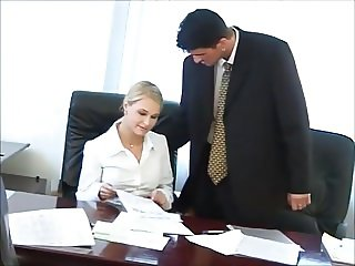 Hot secretary Nikki gets tight holes fucked by the boss