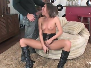 Pretty slut Tori Black shows off her assets and sucks this guy off