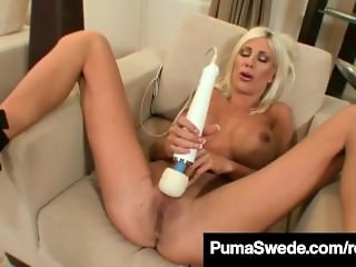 Busty Blonde Bombshell Puma Swede Finger Bangs Her Wet Pussy  Description: