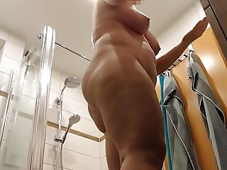 hidden cam - my wife putting on lotion after shower