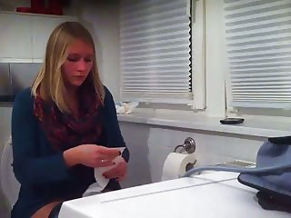 College Teen on Toilet at House Party Blue Panty