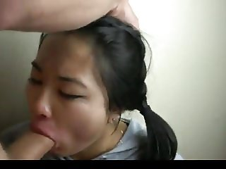 HD PURPLE EYES Asian Sucks White Cock and gets FACE COVERED