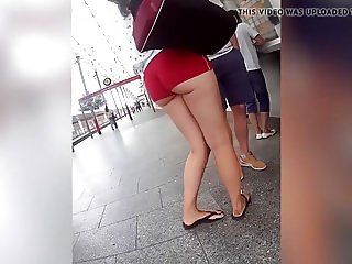 hot ass in red mini shorts