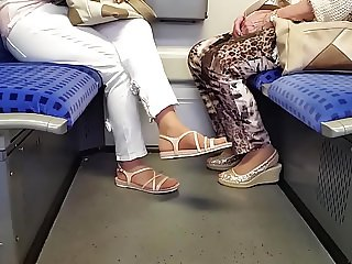 two granny's nylon feet