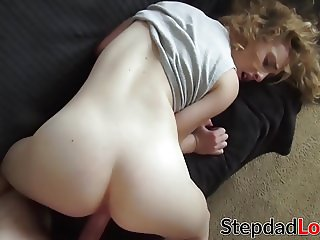 Cute but busty Bonnie Grey hammered doggystyle by stepdad