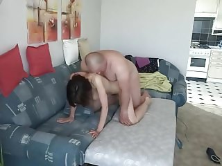 Mature Polish couple fucking on bed at home