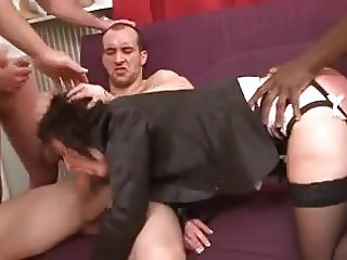 French mature gangbang dp