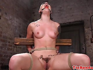 Maledom uses vibrator on tied up bdsm sub
