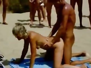 2 couples fucking on a French beach of nudists
