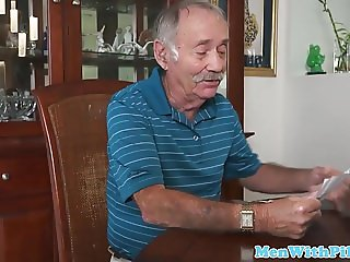Young beautiful amateur sucks old mans cock