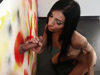 Tranny Lana shemale mouth filled with cock at gloryhole