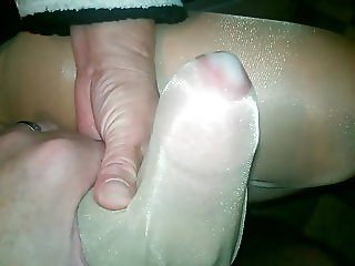 Nylon Handjob with cum on shiny nylon legs