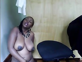 African MILF in office on webcam