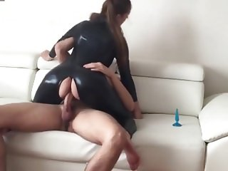 Girlfriend In Shiny Black Latex Spandex Cat Suit Fucked