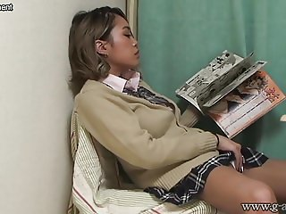 Japanese Schoolgirl Caught Masturbating Under Desk