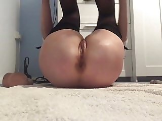 Panty stuffing, slow dildo fucking to massive squirts