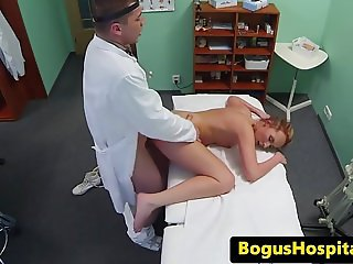 Doctor massages and fucks babe with headache