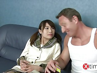 Baby doll Japanese girl, her first big white cock