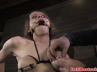 Breast bound sub gagged and punished by dom