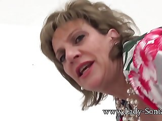 MILF Sonia rubs her pussy while thinking of riding big dick
