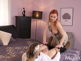 MOM Redhead Russian MILF gags on English cock
