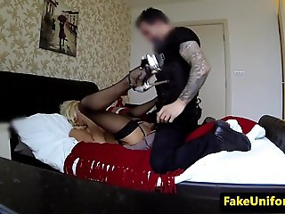 Busty blonde whore pussyfucked by policeman