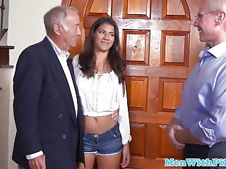 Teenage amateur doggystyled by older guy