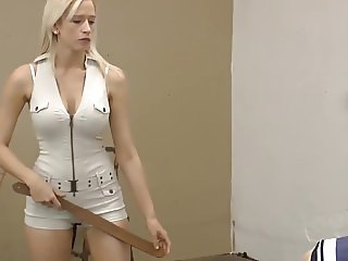 hot strict mistress in shorts punishing her slave with strap