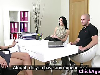 Casting agent in trio with cocksucking couple
