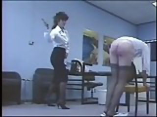 Angry Mistress canes disobedient slave