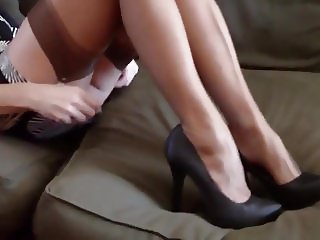 Blonde Mature with sexy Nylon Feets and Shoes