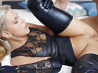 Gorgeous Blond Slut Fucked In Black Latex Wet Look Lingerie