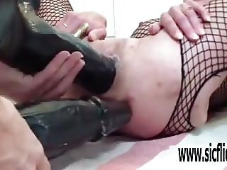 XXL double dildo fucking destruction