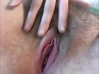Beautiful hairy cunt fondling fingers