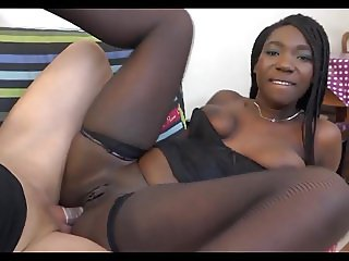 White dude pounding black teen in stockings