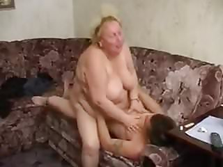 Horny russian granny's porno with young guy