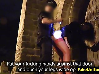 UK babe rimms cops before POV anal outdoor