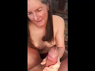 Grandma gives a great hand job