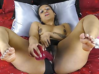Indian With Big Ass And Thighs Pounding Pussy With Dildos