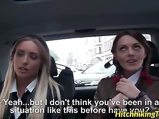 Hitchhiking schoolgirls fucked in the back end of a car POV
