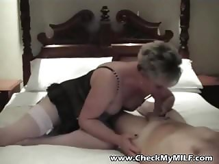 Check My MILF Mature wife lingerie shaved muff riding cock