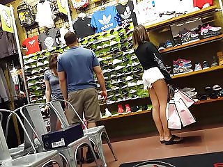 Candid voyeur pale thick hottie jean shorts shopping