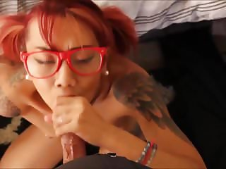 Pierced Nipples Inked Asian Deepthroating Cock