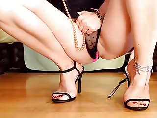 Beautiful black sandals + feet & pussy show