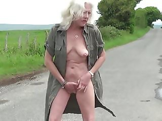 British granny strip and masturbate outdoor